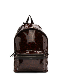 dunkelbrauner bedruckter Leder Rucksack von Saint Laurent