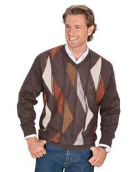 dunkelbrauner bedruckter Pullover mit einem V-Ausschnitt von Classic