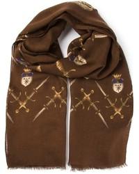 dunkelbrauner bedruckter Schal von Dolce & Gabbana