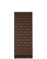 dunkelbrauner bedruckter Schal von Gucci