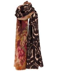 dunkelbrauner bedruckter Schal von Pierre Louis Mascia