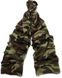 dunkelbrauner Camouflage leichter Schal von Saint Laurent