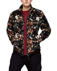 dunkelbrauner Fleece-Pullover mit einem Reißverschluß