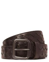dunkelbrauner geflochtener Ledergürtel von Bottega Veneta