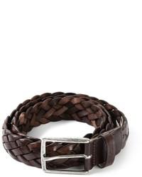 dunkelbrauner geflochtener Ledergürtel von Woolrich