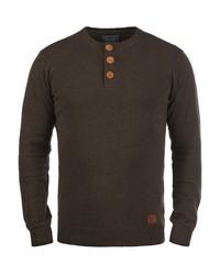 dunkelbrauner Henley-Pullover von BLEND