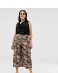 dunkelbrauner Hosenrock mit Leopardenmuster von Missguided Plus