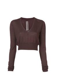 dunkelbrauner kurzer Pullover von Rick Owens