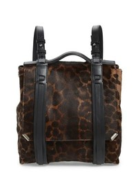 dunkelbrauner Leder Rucksack mit Leopardenmuster