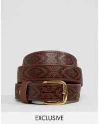 dunkelbrauner Ledergürtel von Reclaimed Vintage