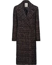 dunkelbrauner Mantel aus Bouclé mit Schottenmuster von Esprit