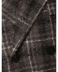 dunkelbrauner Mantel mit Karomuster von Thom Browne