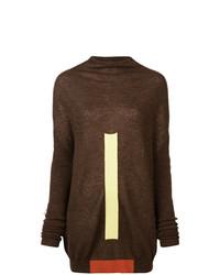 dunkelbrauner Oversize Pullover von Rick Owens
