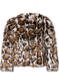 dunkelbrauner Pelz mit Leopardenmuster von Moschino