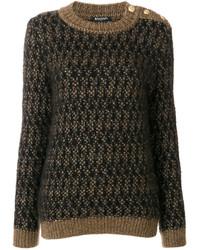 dunkelbrauner Pullover mit einem Rundhalsausschnitt mit Reliefmuster von Balmain