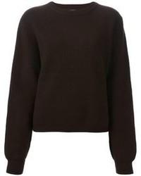 dunkelbrauner Pullover mit einem Rundhalsausschnitt