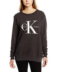dunkelbrauner Pullover mit einem Rundhalsausschnitt von Calvin Klein Jeans