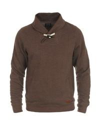 dunkelbrauner Pullover mit einem Schalkragen von BLEND
