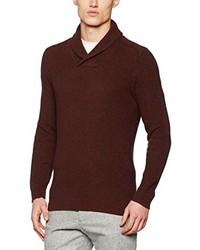 dunkelbrauner Pullover mit einem Schalkragen von Selected Homme
