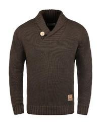 dunkelbrauner Pullover mit einem Schalkragen von Solid