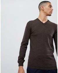 dunkelbrauner Pullover mit einem V-Ausschnitt von ASOS DESIGN