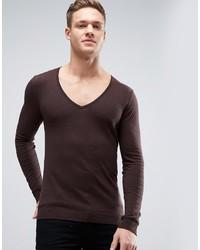 dunkelbrauner Pullover mit einem V-Ausschnitt von Asos
