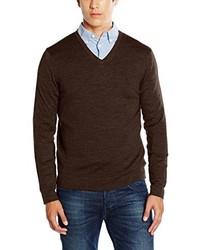 dunkelbrauner Pullover mit einem V-Ausschnitt von Calvin Klein