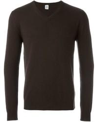 dunkelbrauner Pullover mit einem V-Ausschnitt von Eleventy