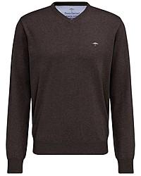 dunkelbrauner Pullover mit einem V-Ausschnitt von Fynch Hatton
