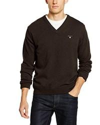 dunkelbrauner Pullover mit einem V-Ausschnitt von Gant