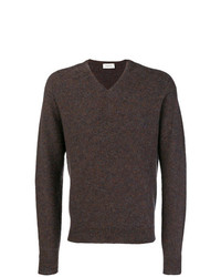 dunkelbrauner Pullover mit einem V-Ausschnitt von Lemaire