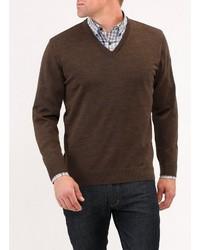dunkelbrauner Pullover mit einem V-Ausschnitt von MAERZ Muenchen
