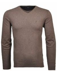 dunkelbrauner Pullover mit einem V-Ausschnitt von RAGMAN