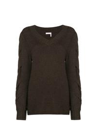 dunkelbrauner Pullover mit einem V-Ausschnitt von See by Chloe