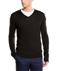 dunkelbrauner Pullover mit einem V-Ausschnitt von Selected Homme