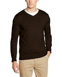 dunkelbrauner Pullover mit einem V-Ausschnitt von Tom Tailor