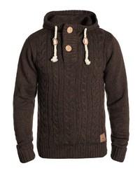 dunkelbrauner Strick Pullover mit einem Kapuze von Solid
