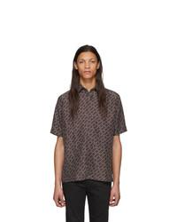 dunkelbraunes bedrucktes Kurzarmhemd von Fendi