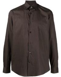 dunkelbraunes bedrucktes Langarmhemd von Salvatore Ferragamo