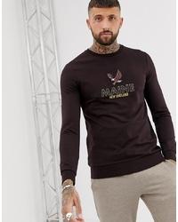 dunkelbraunes bedrucktes Sweatshirt