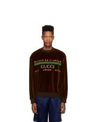 dunkelbraunes bedrucktes Sweatshirt von Gucci