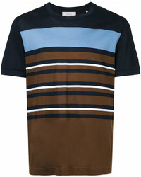 dunkelbraunes horizontal gestreiftes T-Shirt mit einem Rundhalsausschnitt