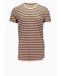 dunkelbraunes horizontal gestreiftes T-Shirt mit einem Rundhalsausschnitt von Religion