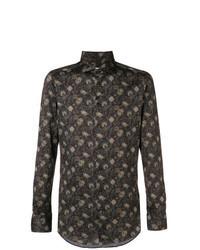 dunkelbraunes Langarmhemd mit Blumenmuster