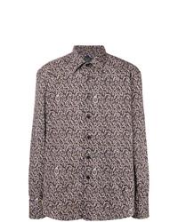 dunkelbraunes Langarmhemd mit Paisley-Muster von Billionaire