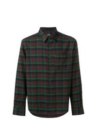 dunkelbraunes Langarmhemd mit Schottenmuster von A.P.C.