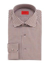 Dunkelbraunes Langarmhemd mit Vichy-Muster
