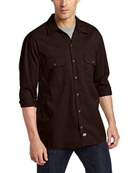 dunkelbraunes Langarmhemd von Dickies