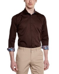dunkelbraunes Langarmhemd von Gianni Ferrucci