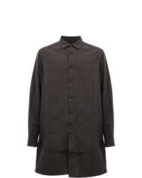 dunkelbraunes Langarmhemd von Ziggy Chen